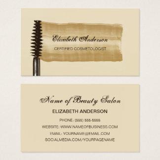 エレガントな金ゴールドおよびブラウンのマスカラの美容師 名刺