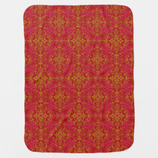 エレガントな金ゴールドおよび濃いピンクの花のダマスク織パターン 赤ちゃん用毛布