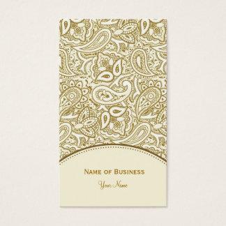 エレガントな金ゴールドおよび白いペイズリーのダマスク織 名刺