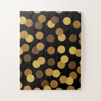 エレガントな金ゴールドおよび黒い水玉模様パターン ジグソーパズル
