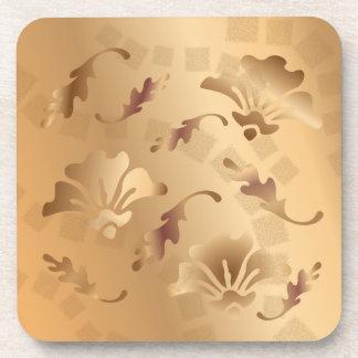 エレガントな金ゴールドによってある調子を与えられるベージュ花のコースターセット コースター