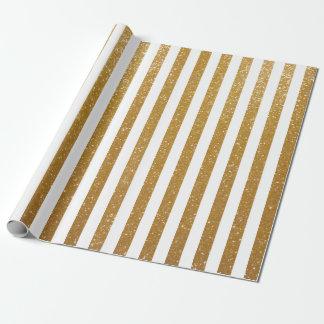 エレガントな金ゴールドのきらびやかでストライプのな包装紙 ラッピングペーパー