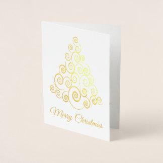 エレガントな金ゴールドのクリスマスツリーの白い休日カード 箔カード