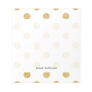 エレガントな金ゴールドのグリッターの水玉模様パターン ノートパッド