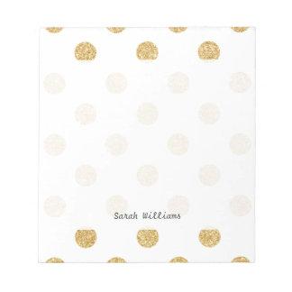 エレガントな金ゴールドのグリッターの水玉模様パターン メモ帳