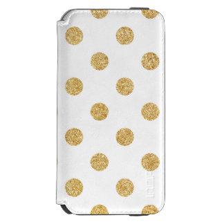 エレガントな金ゴールドのグリッターの水玉模様パターン INCIPIO WATSON™ iPhone 6 ウォレットケース
