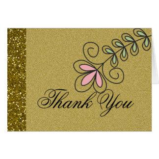 エレガントな金ゴールドのグリッターの結婚式は感謝していしています カード