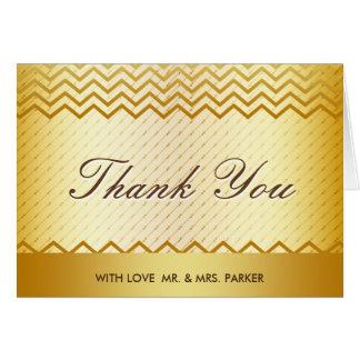 エレガントな金ゴールドのグリッターの金属の結婚式は感謝していしています カード