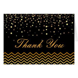 エレガントな金ゴールドのシェブロンの紙吹雪のヴィンテージは感謝していしています カード