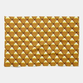 エレガントな金ゴールドのスケールパターン キッチンタオル