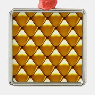 エレガントな金ゴールドのスケールパターン メタルオーナメント