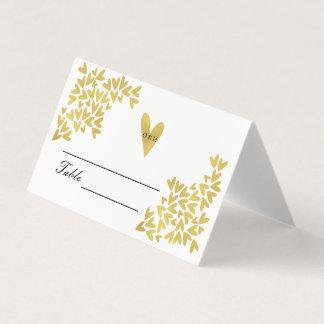 エレガントな金ゴールドのハートパターン|結婚の座席表 プレイスカード