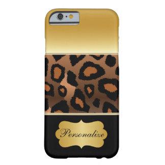 エレガントな金ゴールドのヒョウのアニマルプリント iPhone 6 ベアリーゼアケース
