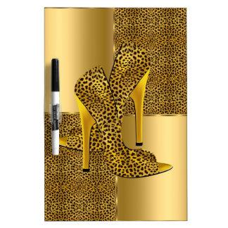 エレガントな金ゴールドのヒョウのハイヒールは動物に蹄鉄を打ちます ホワイトボード