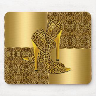 エレガントな金ゴールドのヒョウのハイヒールは動物に蹄鉄を打ちます マウスパッド