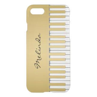 エレガントな金ゴールドのピアノキーボード音楽 iPhone 8/7 ケース