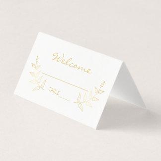 エレガントな金ゴールドの月桂樹の結婚 プレイスカード