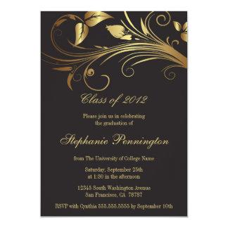 エレガントな金ゴールドの渦巻の卒業パーティーの発表 カード