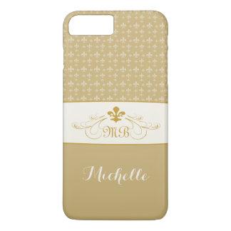 エレガントな金ゴールドの白い(紋章の)フラ・ダ・リのiPhone 7のプラスの場合 iPhone 8 Plus/7 Plusケース