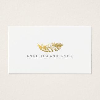 エレガントな金ゴールドの羽の名刺 名刺