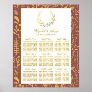 エレガントな金ゴールドの花のリースの結婚式の座席の図表 ポスター