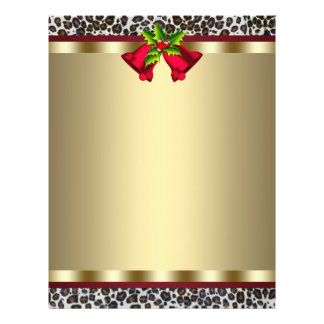 エレガントな金ゴールドの赤いヒョウのクリスマスレターヘッド チラシ