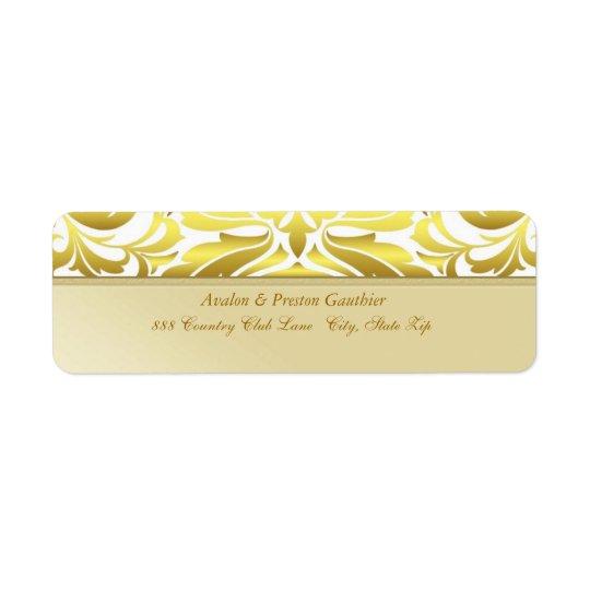 エレガントな金ゴールドの金属のダマスク織の結婚式の宛名ラベル ラベル