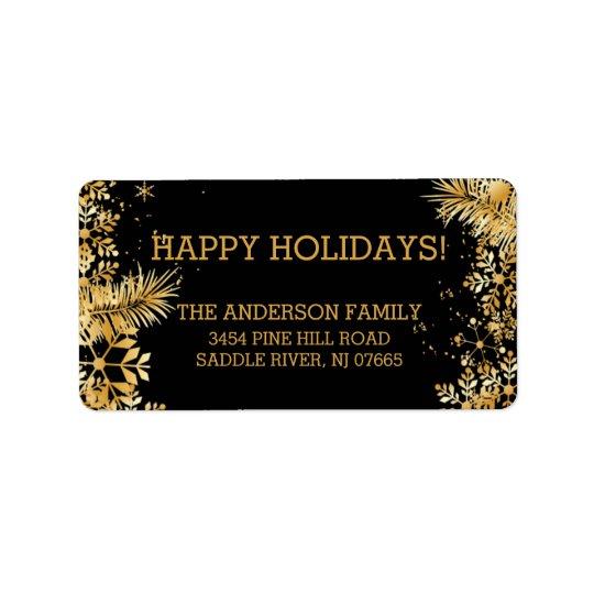 エレガントな金ゴールドの雪片のクリスマスの差出人住所 ラベル