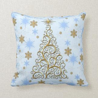 エレガントな金ゴールドの青の渦巻のクリスマスの休日の枕 クッション