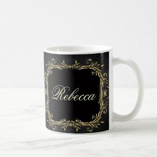 エレガントな金ゴールドの黒の豪奢でフォーマルな結婚式 コーヒーマグカップ