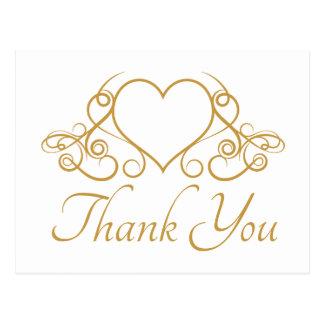 エレガントな金ゴールドはハートの結婚披露宴愛感謝していしています ポストカード