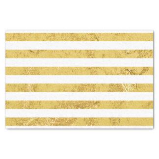 エレガントな金ゴールドホイルおよび白のストライプなパターン 薄葉紙