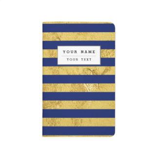 エレガントな金ゴールドホイルおよび青い縞パターン ポケットジャーナル