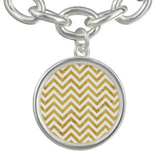エレガントな金ゴールドホイルのジグザグ形のストライプなシェブロンパターン チャームブレスレット