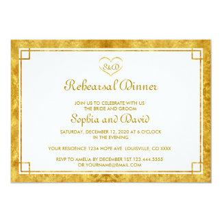 エレガントな金ゴールドホイルのハートのリハーサルの夕食の招待 12.7 X 17.8 インビテーションカード