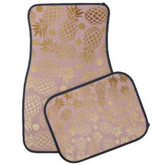 エレガントな金ゴールドホイルのパイナップル水玉模様パターン カーマット