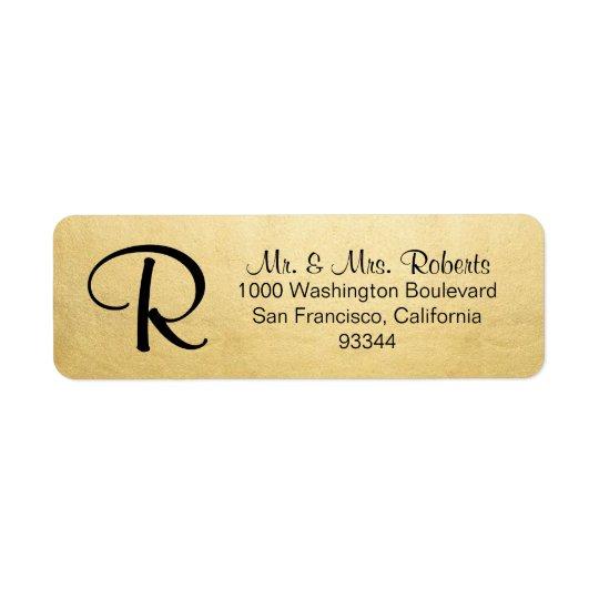 エレガントな金ゴールドホイルのモノグラムの手紙の差出人住所 返信用宛名ラベル