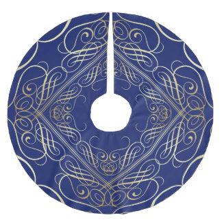 エレガントな金ゴールドホイルの一見の線条細工のScrollworkの青 ブラッシュドポリエステルツリースカート