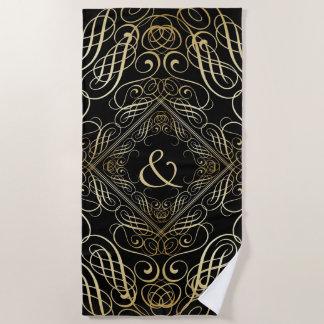エレガントな金ゴールドホイルの一見の線条細工のScrollworkの黒 ビーチタオル