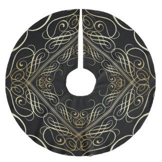 エレガントな金ゴールドホイルの一見の線条細工のScrollworkの黒 ブラッシュドポリエステルツリースカート