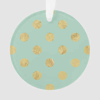 エレガントな金ゴールドホイルの水玉模様パターン-ティール(緑がかった色)の金ゴールド オーナメント
