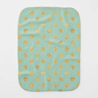 エレガントな金ゴールドホイルの水玉模様パターン-ティール(緑がかった色)の金ゴールド バープクロス