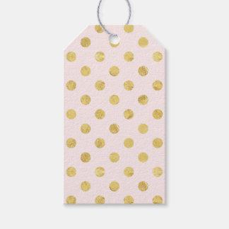 エレガントな金ゴールドホイルの水玉模様パターン-ピンク及び金ゴールド ギフトタグ