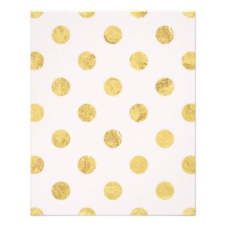 エレガントな金ゴールドホイルの水玉模様パターン-ピンク及び金ゴールド チラシ