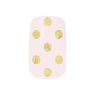 エレガントな金ゴールドホイルの水玉模様パターン-ピンク及び金ゴールド ネイルアート