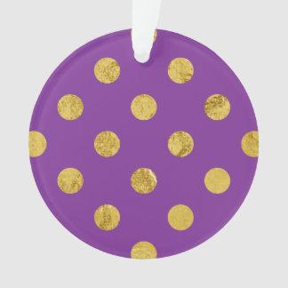 エレガントな金ゴールドホイルの水玉模様パターン-紫色 オーナメント