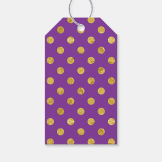 エレガントな金ゴールドホイルの水玉模様パターン-紫色 ギフトタグ