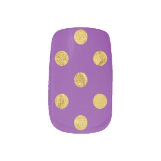 エレガントな金ゴールドホイルの水玉模様パターン-紫色 ネイルシール