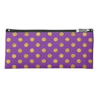 エレガントな金ゴールドホイルの水玉模様パターン-紫色 ペンシルケース