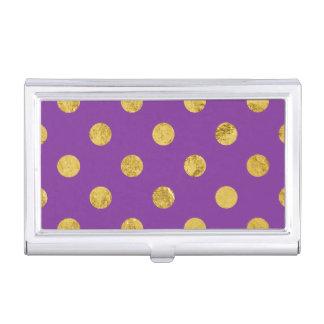 エレガントな金ゴールドホイルの水玉模様パターン-紫色 名刺入れ